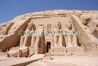 The four colossi of Ramesses II on the facade of the Sun Temple of Abu Simbel, Egypt
