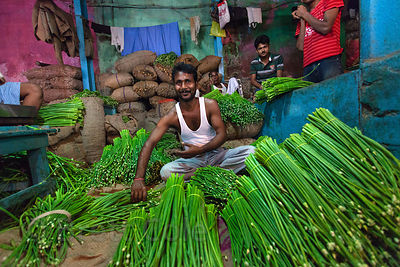 Unidentified vegetable for sale at the Kole wholesale veg market in Bowbazar, Kolkata, India. Kole is one of the largest vege...