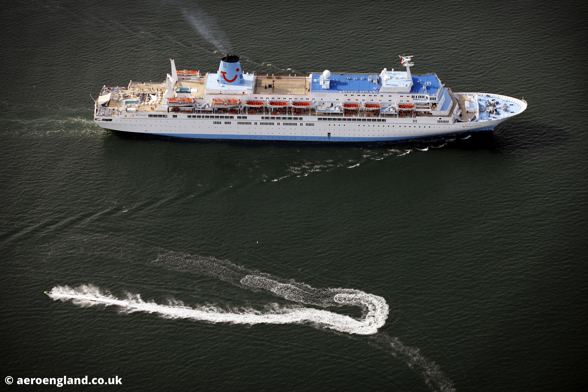 aerial photograph of  the Thompson Celebration Cruise ship leaving the River Tyne in  Tyne & Wear North East England  UK