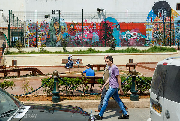 Street scene with street art in Algiers, Algeria, North Africa