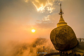 Kyaiktiyo Pagoda, or Golden Rock in Mon State in Myanmar. This small boulder covered with gold leaf is a well known Buddhist ...