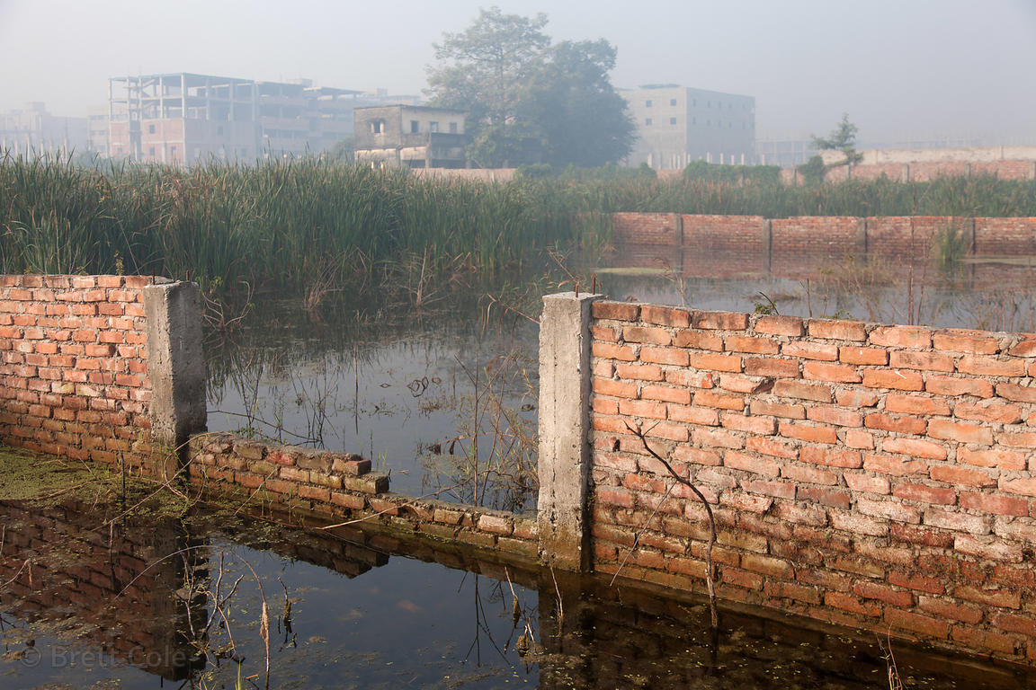 A decaying brick wall in water, in a construction area in the East Kolkata Wetlands near Dhapa, Kolkata, India.