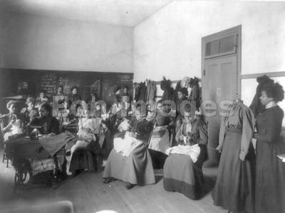 African American students attend sewing class