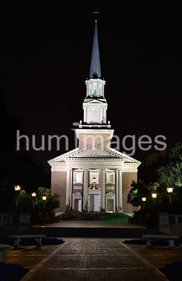 Perkins Chapel on the SMU campus in Dallas Texas (night)