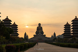 Sunset over the Buddha statue at the Fo Guang Shan Buddha Museum in Dashu District, Kaohsiung, Taiwan
