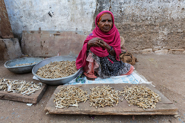 Woman Selling Dried Fish at Street Market