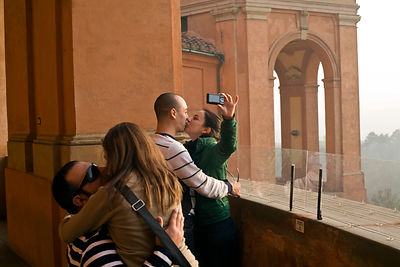 Italy - Bologna - Lovers kiss at the Santuario della Madonna di Santa Luca