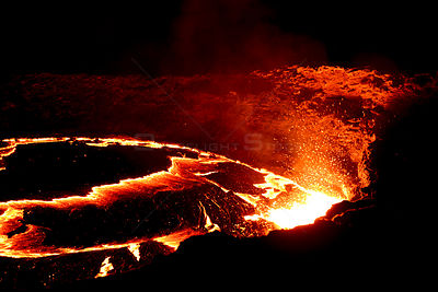 Erta Ale volcano. Lava flow at night. Afar Region, Ethiopia, Africa. November 2014.