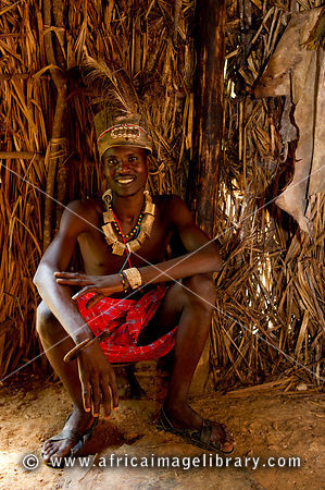 Elmolo man in his hut, Ngomongo Village, Kenya