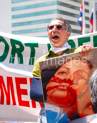 Dallas Stock Photos: Man protesting against the 2009 Iran election results at city hall