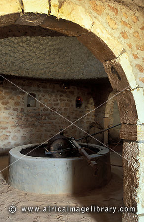 traditional olive press, Guellala museum, Jerba, Tunisia