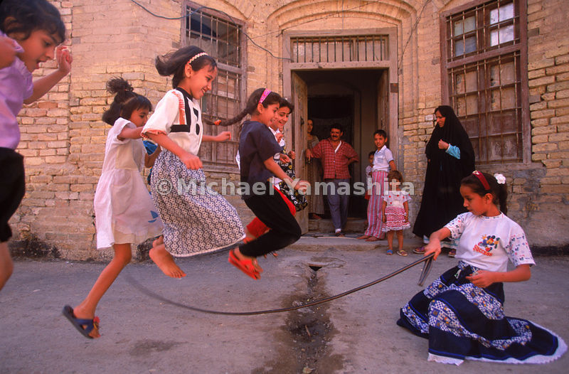 Skipping rope in the ancient Arab quarter of Ashar in Basra.