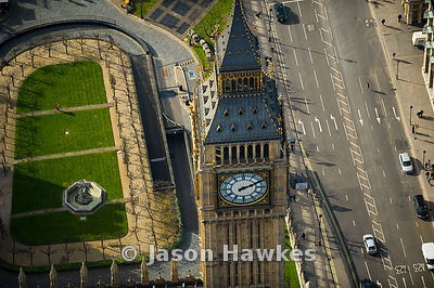 Big Ben, Houses of Parliament, London. Aerial view.