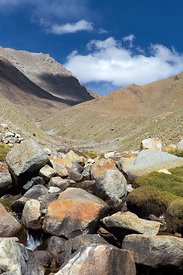 Boulders in a creek on Khardung La, Leh, Ladakh, India