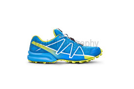 Front view of blue and yellow trainers isolated on a white background.