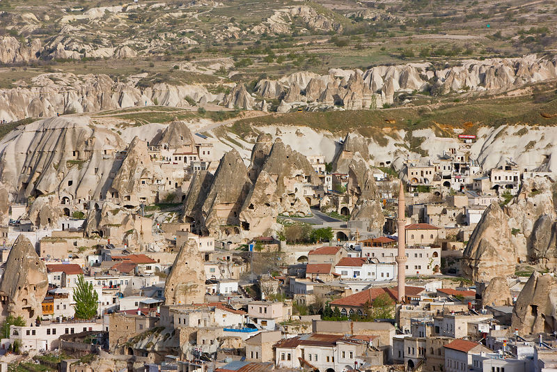Elevated view over the Volcanic tufa rock formations surrounding Goreme, Cappadocia, Anatolia, Turkey, 2008