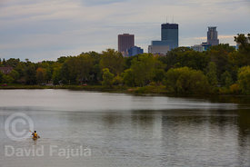 Lake of the Isles with Minneapolis bulding on the background