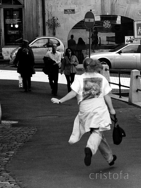 girl in a hurry in Geneva