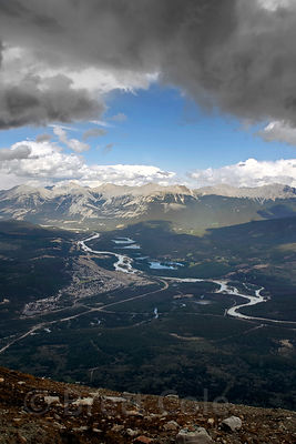 Dramatic stormclouds over Jasper NP, Canadian Rockies.