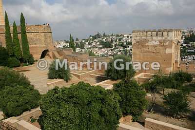 Looking over the Patio de la Madraza, Alhambra, with the Torre del Cubo (The Tub) to the left and the Torre de las Gallinas t...