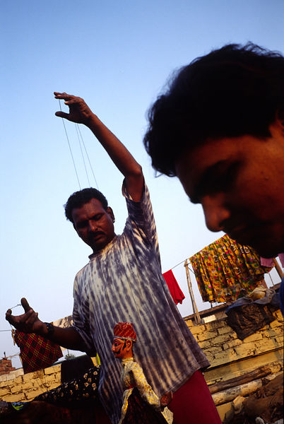 India - New Delhi - Puran Bhatt, a puppeteer, on his roof