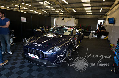 Track Group's Aston Martin Vantage GT4 in the pits, pre-race, at the Silverstone 500 - the third round of the British GT Cham...