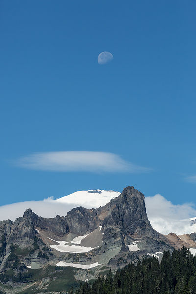 Moon and Little Tahoma Peak