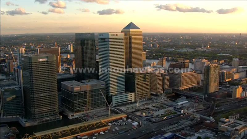 Aerial footage around Canary Wharf, Isle of Dogs, London, England, UK