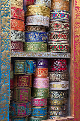 Intricate brocade at a small shop in Jodhpur, Rajasthan, India