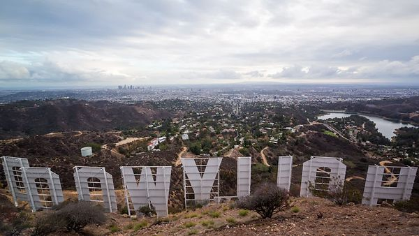 Wide Shot: Viewing Los Angeles From Behind the Hollywood Sign