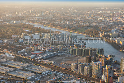 Aerial view of London, River Thames at Battersea with Chelsea Bridge.