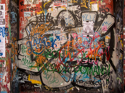 Italy - Naples - Graffitti on the side of a squatted building