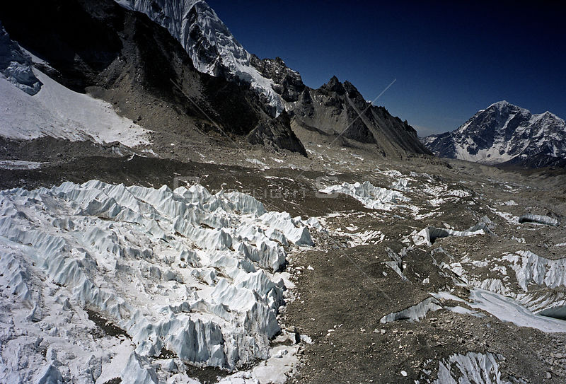 NEPAL Khumbu Glacier -- 16 Apr 2005 -- Aerial image of the ice pinnacles at the top part of the Khumbu Glacier underneath Mou...