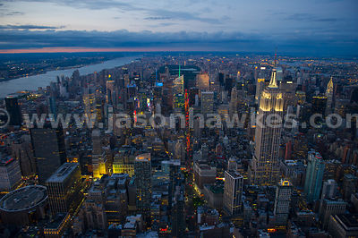 Aerial view of Manhattan, New York City, with Midtown in the foreground