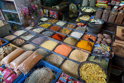 Grains for sale in a market in Jodhpur, Rajasthan, India