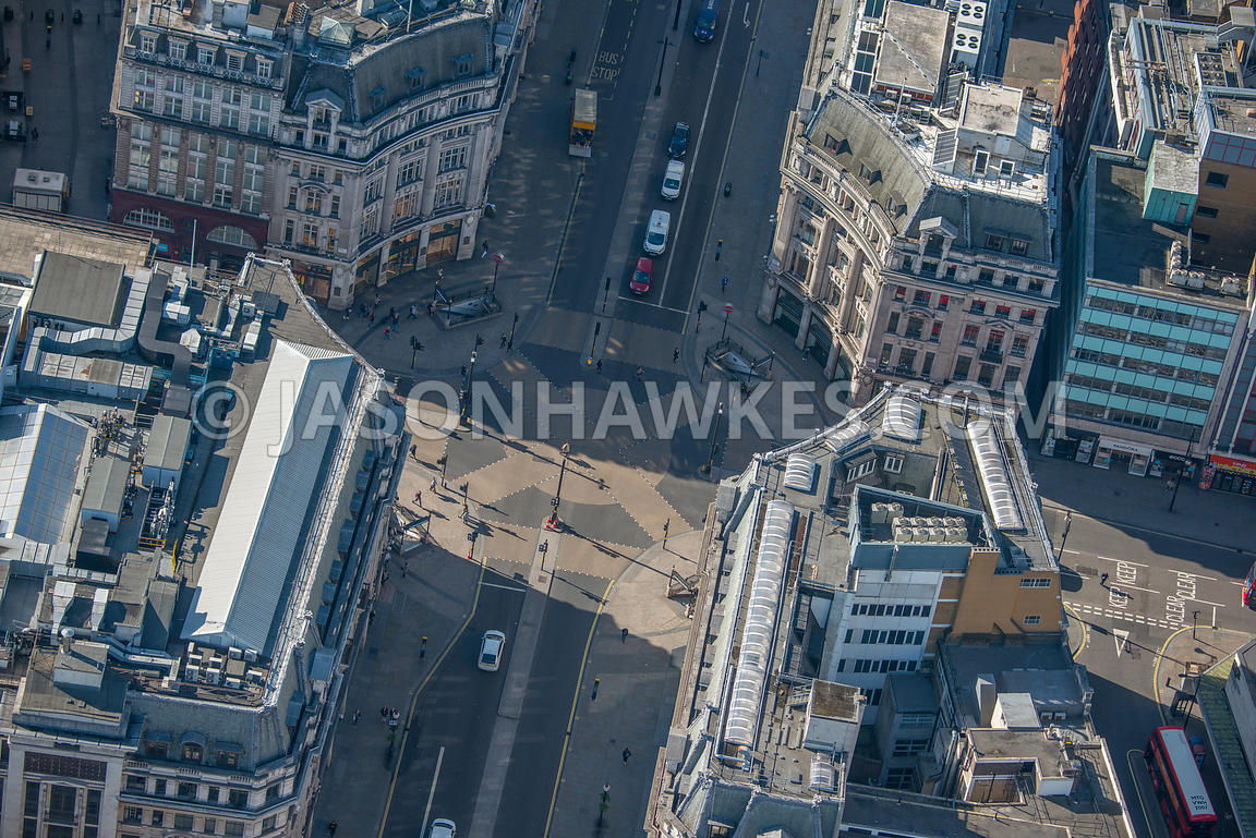Aerial view of Oxford Circus showing Oxford Street and Regent Street, London