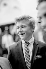 Young Nordic boy in suit and bluish tie 7 (black/white)