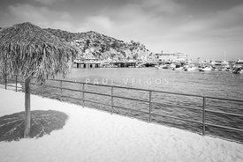 Catalina Island Tiki Umbrella Black and White Photo