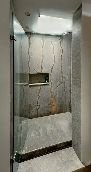 Marble-clad shower