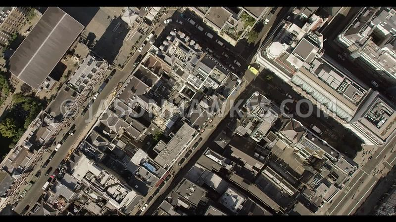 Aerial footage of Covent Garden and Royal Opera House, London.