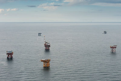 Aerial view of oil rig drilling platforms,  Louisiana, Gulf of Mexico, USA 2010