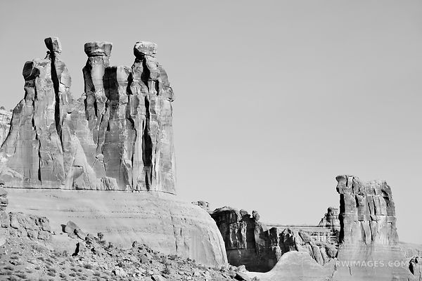 THREE GOSSIPS ARCHES NATIONAL PARK UTAH BLACK AND WHITE