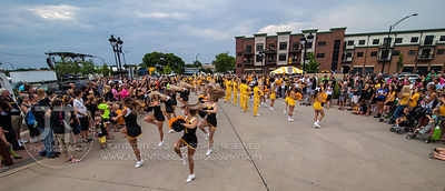 Hawkeye fans participate at Fry Fest during the pep rally at the Coralville Marriott and Event Center on Friday, August 29, 2...