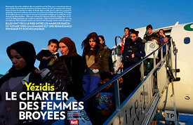 Paris Match Magazine, Iraqi Yazidi Women and Children Join Exodus to Germany.