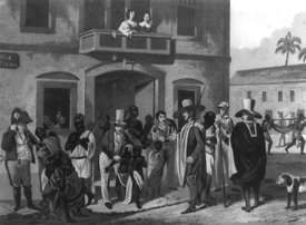 19th-century slave market in Brazil