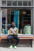 UK - London - Fashion designer Samson Soboye outside his boutique in Shoreditch