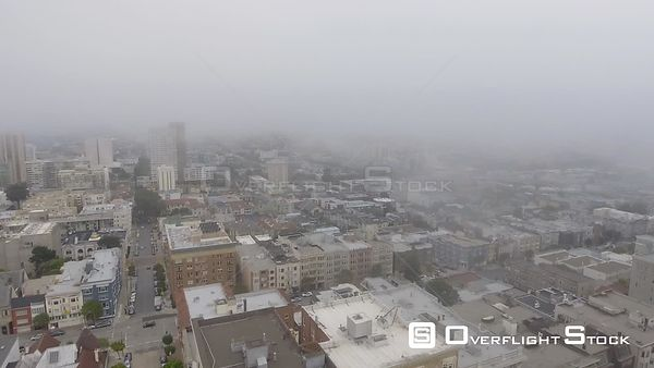 San Francisco panoramic aerial view on a foggy day