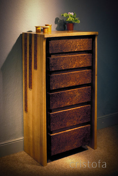 oak and burr-elm chest of drawers