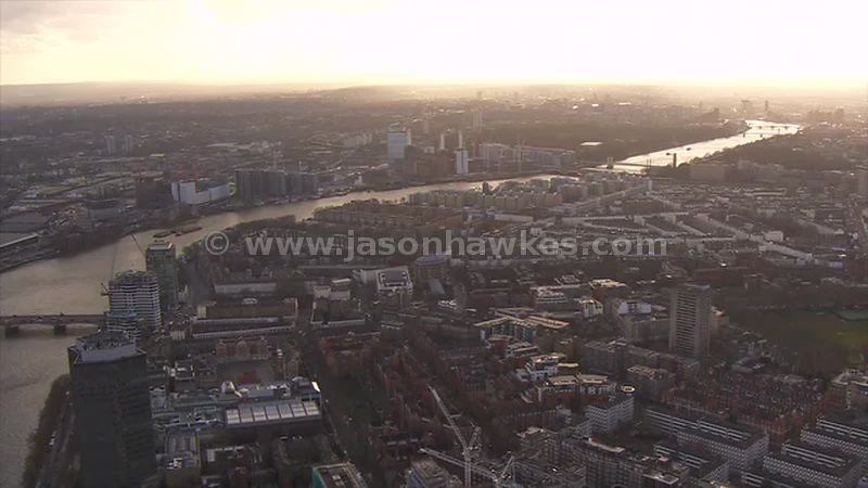 Aerial footage over Pimlico, London