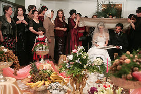 Tehran,  Upper class and rich couple wedding ceremony, it  takes place in a specially decorated room with flowers where a num...